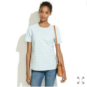 Madewell Eyelet Chambray Top Light Blue M